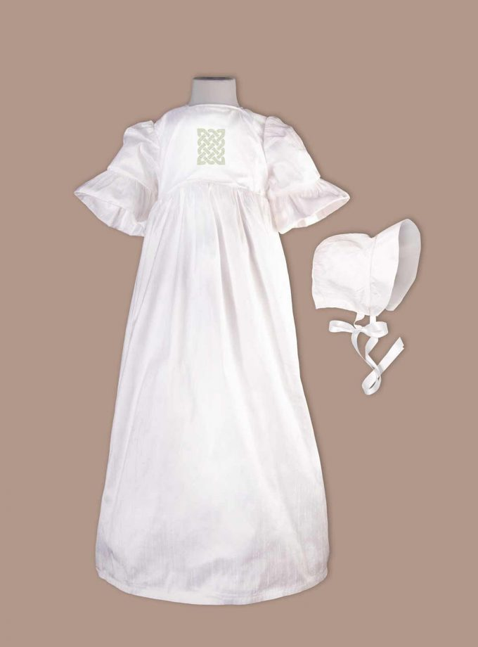 irish Donegal Christening Gown with bonnet