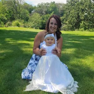 satin and lace christening gown