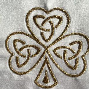 Irish christening gown shamrock design