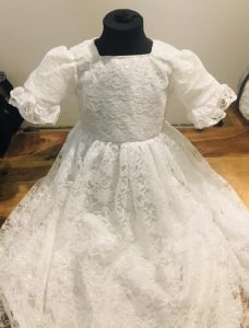 Irish satin and Lace christening gown